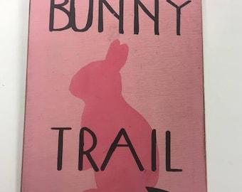 Bunny Trail Easter Spring Holiday Decor Wooden Wall Art Sign