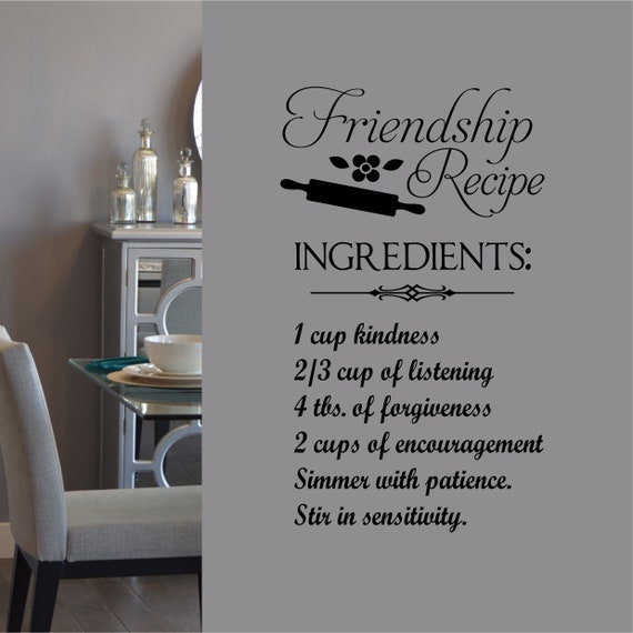 Second Hand Clive Christian Kitchen: Friendship Recipe Quote Vinyl Wall Lettering Vinyl Decals