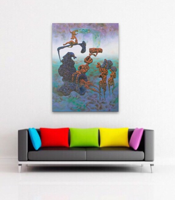 Surrealism Teal Wall Art Weird Art Psychedelic Painting