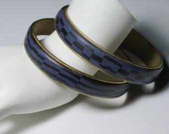 Black and Purple Brass Channel Bracelet Set, Polymer Clay Bracelet, Handmade, Jewelry, Bracelet, Gift for Her, Mom Gift