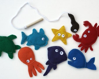 Magnetic Felt Fishing Set - Motor Control and Learning Colors Waldorf Educational Toy