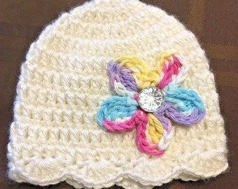 Handmade crochet white baby girl hat with confetti & bling flower