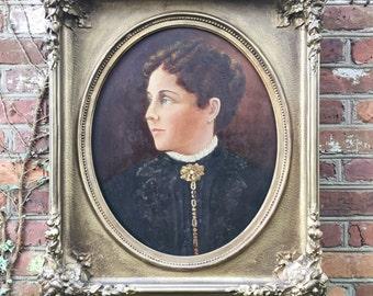 Massive Antique 1860s Oil Portrait in Gilt Frame