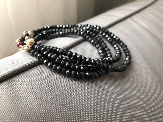 Black Spinel Necklace Faceted