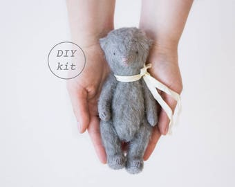 Gray Mohair Teddy Bear DIY Kit 7 Inches, Stuffed Animal Sewing Kit, Soft Toys Craft Kit, Artist Teddy Bear, Crafter Gift, Ready To Ship