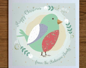 Holiday cards set, Personalized Christmas Cards, Set of 5, Robin