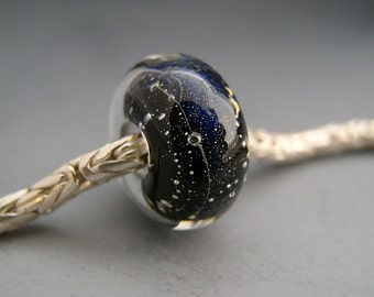 Naos Glass Night Sky Made To Order Bracelet Bead Big Hole Bead BHB Handmade Lampwork Bead SRA fits European Bracelets for beads