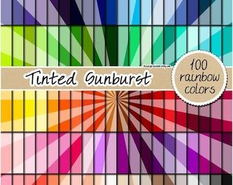 SALE 100 tinted sunburst digital papers sunray digital paper rainbow planner sticker scrapbooking kit pattern 12x12 pastel neutral bright da
