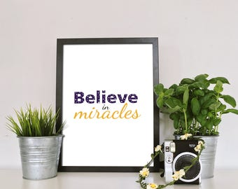 Motivational Quote Printable Wall Art Kids Nursery Room Decor Believe In Miracles Christmas Gift Poster Positive Quotes INSTANT DOWNLOAD