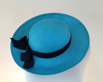 Vintage CHANEL Turquoise Straw Hat With Wide Brim