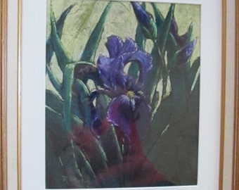 Vintage Pastel Iris Painting Framed