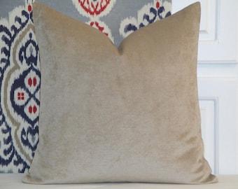 DOUBLE-SIDED + Chenille Velvet Decorative Pillow Cover + Khaki Accent Pillow + Chair Pillow + Cushion Cover - Neutral Pillow