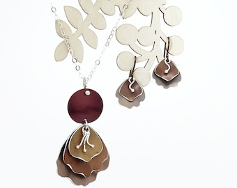 Romantic Rose Gift Set, Handmade Anodized Aluminum Jewelry, Coordinating Pendant and Earrings, 10% off