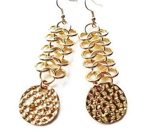Gold Earrings Statement Jewelry Chain Earrings Bohemian Jewelry Large Earrings Gold Jewelry Long Earrings Bead Jewelry Gypsy Earrings Gift