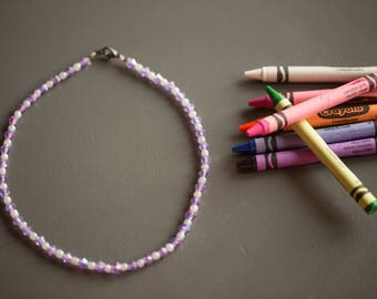 Girls' Sparkly Purple & Clear Beaded Necklace