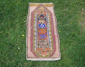 Turkish Rug 1x2 Beige Wool Pile Small Vintage Rug Hand Knotted Semi Antique Area Rug - AINA0102