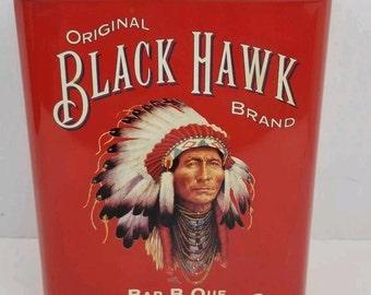Vintage Black Hawk Brand Hickory Chips Bar-B-Que 32oz tin canister