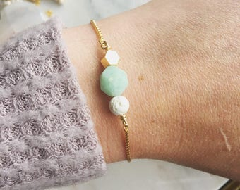 Lava and amazonite essential oil bracelet, essential oil bracelet, adjustable gold bracelet