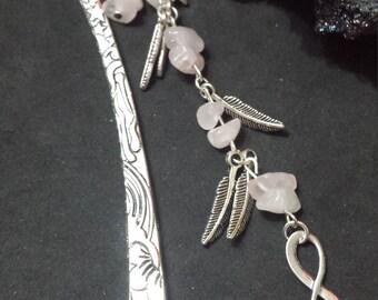 Bookmark jewlery rose Quartz Natural Stone