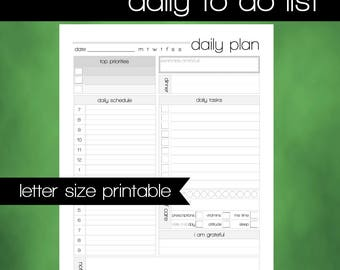 Printable To Do List - Daily Plan - 8.5x11 Letter Size PDF -  Daily Agenda - INSTANT DOWNLOAD - Printable Daily Schedule