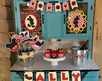 Disney Inspired Mickey and Minnie In Love Set - Banners, Photo Booth Props, Cupcake Wraps, and More - Perfect Shower or Wedding!