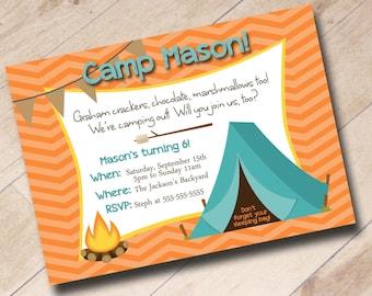 Boy or Girl Camp Out Birthday Invitation - Fall Autumn Theme