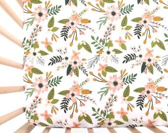 Crib Sheet Blush Sprigs and Blooms. Fitted Crib Sheet. Baby Bedding. Crib Bedding. Crib Sheets. Floral Crib Sheet.