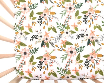 Crib Sheet Blush Sprigs and Blooms. Fitted Crib Sheet. Baby Bedding. Crib Bedding. Crib Sheets. Floral Crib Sheet.