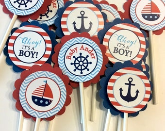 Nautical baby shower Topper, Ahoy It's A Boy, Baby shower Cupcake Topper, Ahoy It's a Boy Topper