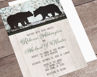 Rustic Bear Wedding Invitations - Country Outdoorsy or Woodsy theme for Summer or Spring Weddings - Printed Bear Invitations