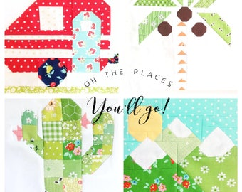Set of 4 Quilt Block Patterns: Camper, Cactus, Palm Tree and Mountains Instructions for 6 inch and 12 inch blocks 15% Savings
