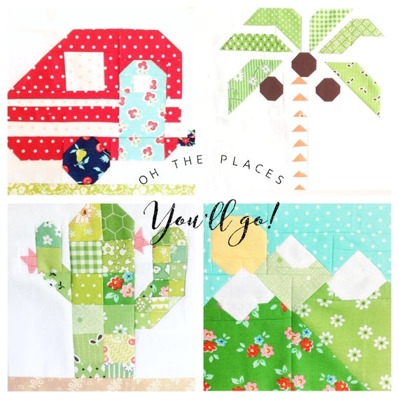 Set Of 4 Quilt Block Patterns Camper Cactus Palm Tree And