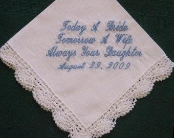 Mother of the Bride Wedding Handkerchief Gift,  Personalized wedding hankie, wedding gift for mom  80S
