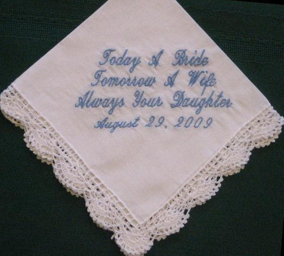 Bridal Gift From Mother: Mother Of The Bride Wedding Handkerchief Gift Personalized