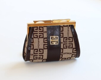 givenchy brown leather and canvas coin purse vintage 1970s