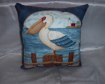 Nautical Pelican pictorial pillow vintage new