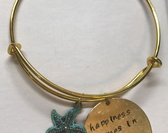 Hand Stamped Beach Theme Bangle Bracelet | Gifts for Her