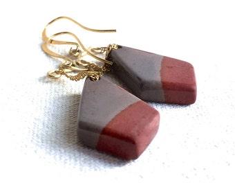 Red & Grey Jasper Stone Earrings gold modern earrings carved stone geometric earrings drop dangle earrings chain long earrings gift for her