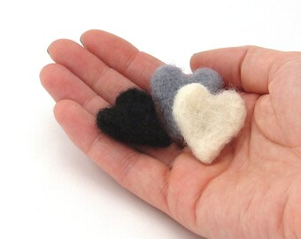 3 Felted hearts in black, white and grey (Needle felted wool miniature heart decorations)