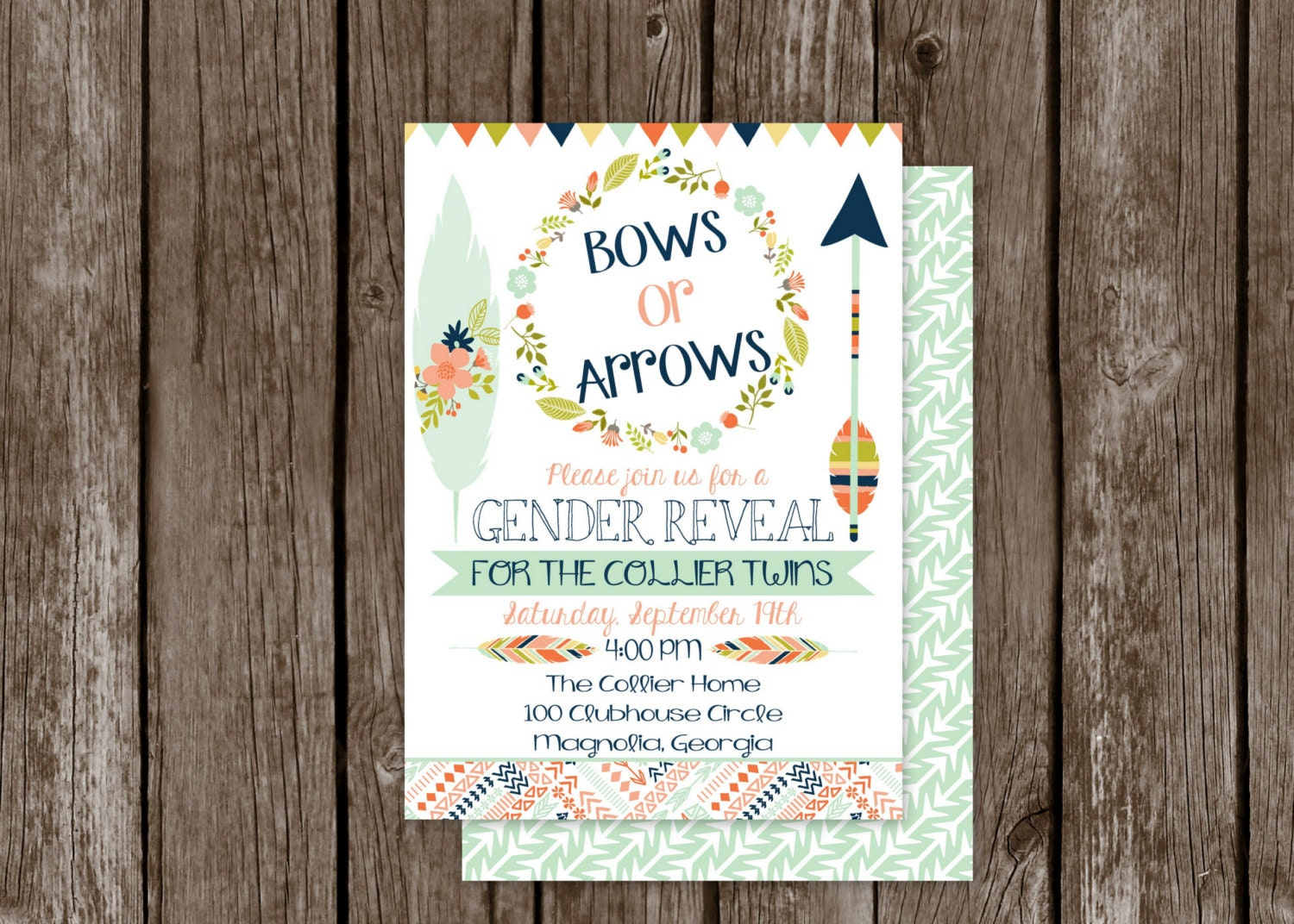 Bows or Arrows Gender Reveal Invitation Baby Gender Reveal