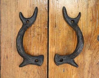 Cast Iron Antler Door Handles, Set Of 2, Drawer Handles, Cabinet Handles,  Antler Drawer Pulls