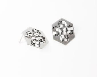 Silver Geometric Earring CONVEX E08