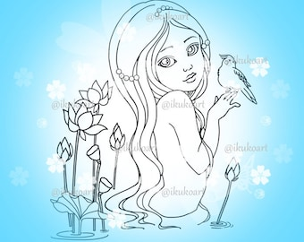 Line Art Digital Stamp Image Adult Coloring Page Printable Instant Download - Water Lily Girl
