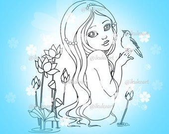 Water Lily Girl - Line Art Digital Stamp Image Adult Coloring Page Printable Instant Download
