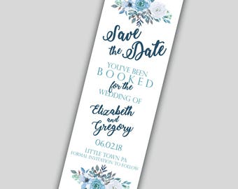 Bookmark Save the date / You've been booked / Save the date /  DIY Printable or Printed with Ribbon