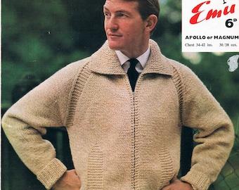 Vintage Knitting Pattern: 1960s Mens Chunky Knit Windcheater Zip Jacket Knitting Pattern Digital Copy