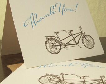 Tandem Bike Thank You Cards - 24-Pack Letterpress Cards