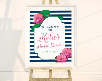 Big Hat Shower Custom Welcome Sign, Printable, Preppy, Derby, Navy, Green, Pink, Southern, Tea, Luncheon, Party Decor, Wedding, Bridal