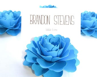 3 inch Turquoise Paper Flower Place Card Holders | Paper Flower Box Toppers