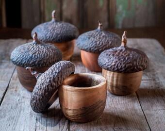 Woodland Acorn Button Box, Keepsake Jewelry Box, Wood Box, Ring Box, Gift Under 100, Naturalist